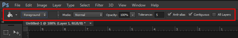 paint bucket option bar in photoshop